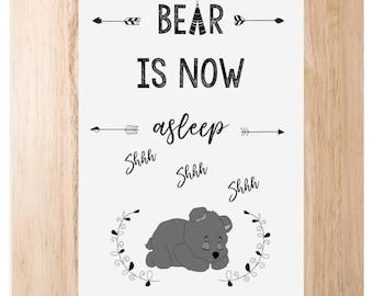 Bear is now asleep print