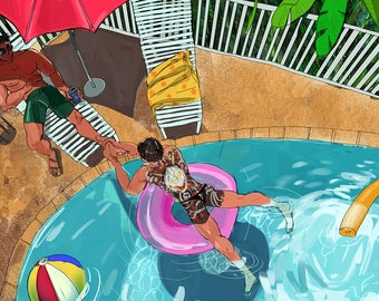 Majima and Kiryu have a pool party print