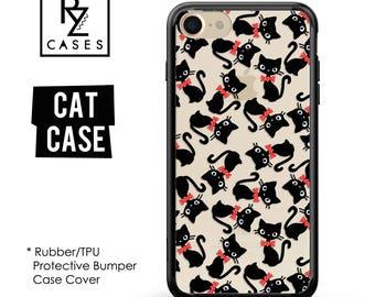 Cat Phone Case, Cute Cat Phone Case, Cat iPhone Case, iPhone 7, Animal, Cat Lover, Gift for Her, iPhone 7 Plus, iPhone 6S, Rubber, Bumper