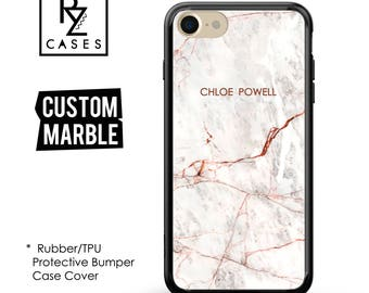 Rose Marble Phone Case, Marble iPhone 7 Case, Personalized Gift, iPhone 7, Gift for Her, 7 Plus Case , iPhone 6S, Rubber, Bumper
