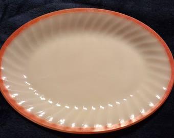 Vintage/1960's Milk Glass/ Red Rimmed/Anchor Hocking Fire King Oval Platter