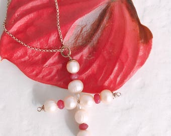 Pearl charm necklace and ruby root. Cross pendant necklace. Silver Rose gold. Pink beads. Handmade.