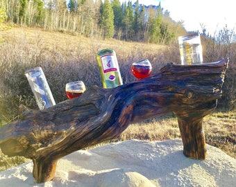 Rustic log wine holder