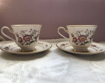Noritake Asian Song footed teacups and saucers