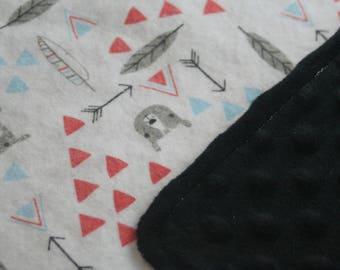 Tribal Bears Geo Print Minky Backed Flannel Baby Blanket