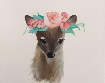 Unframed whimsical deer art print