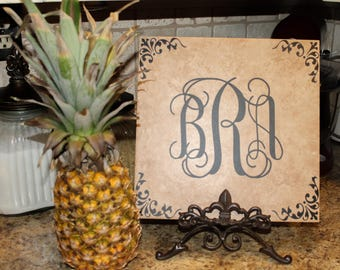 Personalized name tile, ceramic, monogram,  monogrammed, house warming gift, kitchen decor, newlywed gift, initial tile, family name,