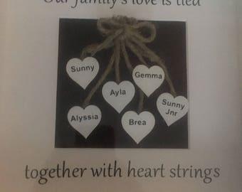 Family heart strings frame