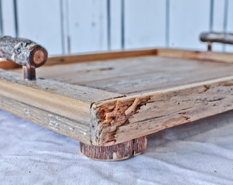WOW!  Rustic Reclaimed Wood Tray with Tree Branch Handles / wooden tray / wood tray / serving tray / shabby chic tray