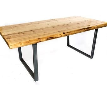 Rustic Thick Slab Live Edge Contemporary Dining Table With Stainless Steel  Legs