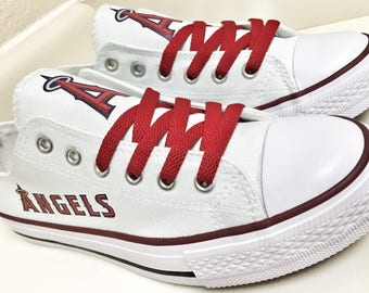 Custom LA Angels Womens & Mens Red/White Low Top Canvas Tennis Shoes