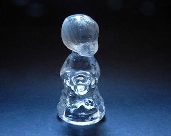 Clear Glass Small Figurine Candle Holder Child Boy Scandinavian Design Christmas Dekor Vintage