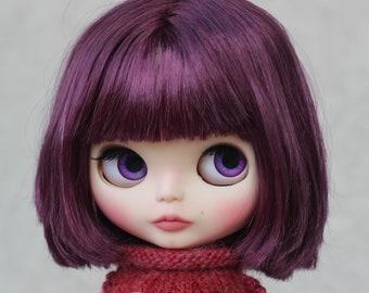 OOAK Custom Blythe Doll One Of A Kind Customized Purple Violet Hair Beauty Mark Girl