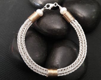Sterling Silver Woven Bracelet with 14k Gold Filled Coils
