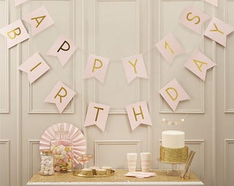 1'st.Pink Happy 1st Birthday Bunting, Baby Girls 1st Birthday Decor, Girls Party Decor, Pink 1st Birthday Banner