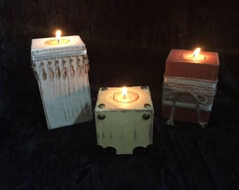 Wood candle tealight holders