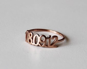 Date Ring, Birthday Ring, Custom Date Ring, Custom Ring, Personalized Jewelry, Numeral Ring, Silver Numeral Ring, Anniversary Date Ring