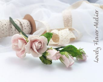 Porcelain clay - Bohemian wedding flower branch little English Roses into the hair - unique