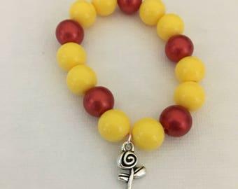 Rose charm bead bracelet.Belle rose charm bracelet.Beauty and beauty inspired charm bracelet.