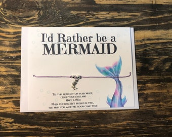 I'd rather be a mermaid wish bracelet.Mermaid wish bracelet.Mermaid charm bracelet.Mermaid party favors.Mermaid jewelry