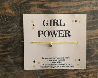 Girl power wish bracelet.Star wish bracelet.Women Empowering jewelry.Girls rule wish bracelet.Girl wish bracelet