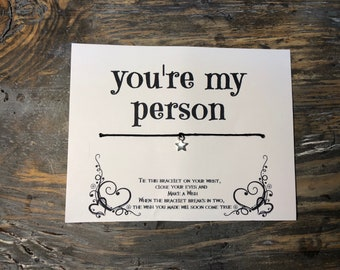 You're my person wish bracelet.Boyfriend gift.Girlfriend gift.Anniversary gift.Fiance gift.Friendship wish bracelet.