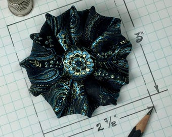 Pin to match your custom-made teal & black satin beret. Made in USA,  designed and stitched by artist Jodie Bailey