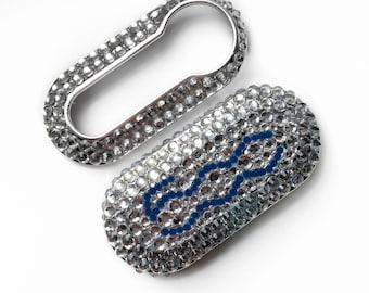 Fiat 500 key cover dark blue and silver logo clear rhinestones pop lounge case fob crystal girly car accessories keyring keychain diamante