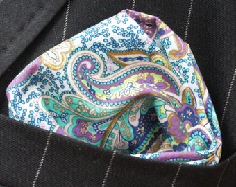 Hankie Pocket Square Handkerchief AQUABLUE - Premium Cotton - UK Made