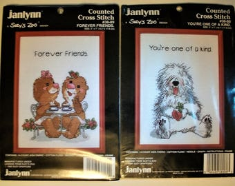 Set of 2-Suzy's Zoo Counted Cross Stitch Kits-Forever Friends & You're One Of A Kind #38-88 #38-89