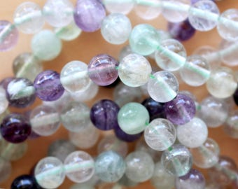 8mm Fluorite beads, full strand, natural stone beads, round, 80047