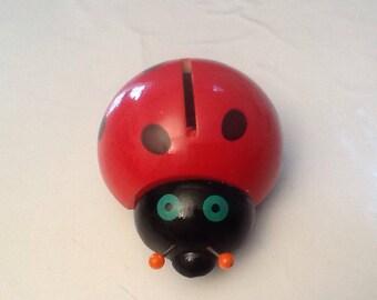 Miss Ladybug - manufacturing France wooden money box