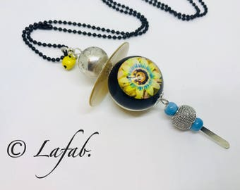 Necklace woman Bohemian style silver and black bead with blue and yellow. FREE shipping