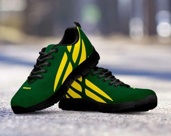Oregon Ducks Football Fan Custom Black Running Shoes/Sneakers/Trainers - Ladies + Mens Sizes