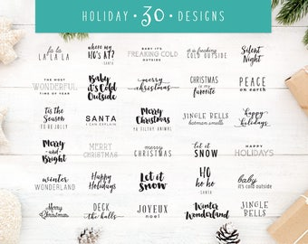 30 Christmas Sayings SVG Bundle | Christmas SVG Pack | Holiday SVG | Holiday Saying Jpg Eps Dxf Png Cut File for Cricut Clipart Silhouette