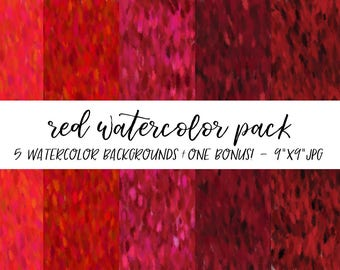 Watercolor Backgrounds Pack, Textures Bundle, Watercolor Digital Paper, Red Watercolor Background, Watercolor Background