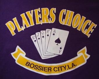 Vintage 80's Bossier City, LA Players Choice Tourist Souvenir Purple T Shirt Size 2XL