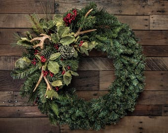 """Antler, Holly, & Pine Christmas Wreath Accent/Swag - Shown on a 24"""" Wreath (wreath not included)"""