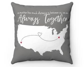 Long Distance Map Pillow | Long Distance Relationship | Custom Map Pillow | USA Map Pillow | Anniversary Gift