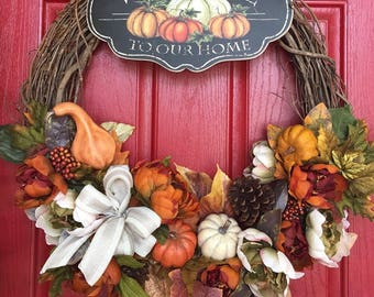 Autumn/Fall/Thanksgiving Welcome to Our Home Wreath