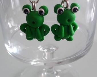Frog earrings in polymer clay