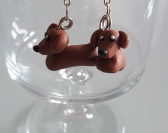 Earrings Fimo Dachshund dog