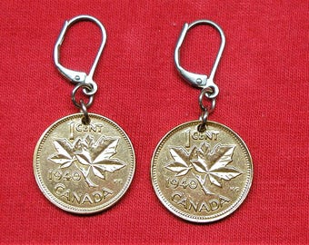 1940's earrings made with real under 1940 Canadians