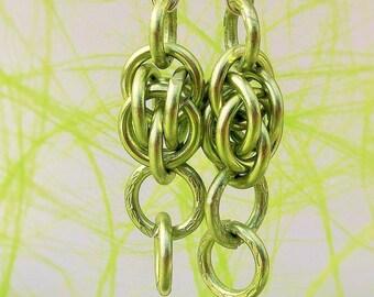 Earrings modern Green