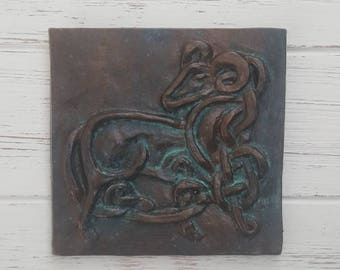 Aries, Fire sign, Zodiac wall art, Astrology wall art, Ram, Astrological signs, Horoscope, unique, Celtic knot, gift, ceramic plaque