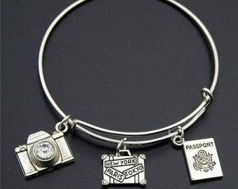 Silver Wanderlust Bangle Version 2 *FREE SHIPPING*Travel Jewellery, Travel Gift, Wanderlust Jewellery, Adventure Bracelet