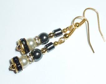"Jewelry earrings gold ""bead hematite"""