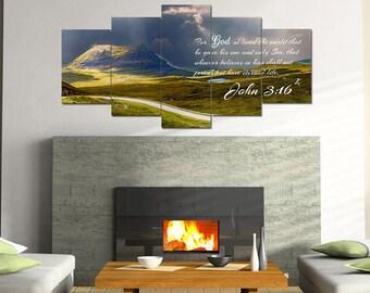 John 3:16 #9 NIV 'For God so Loved the World' Scripture Christian Wall Art, Bible Verse Canvas, Christian Canvas, Bible Verse Wall Art