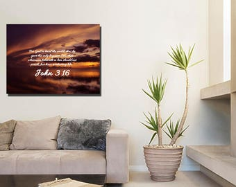 John 3:16 #8 KJV 'For God so Loved the World' Scripture Christian Wall Art, Bible Verse Canvas, Christian Canvas, Bible Verse Wall Art
