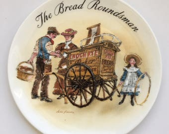 """Wedgewood Bone China Plate - Made in England - 1987 """"The Bread Roundsman"""" - Handpainted by John Finnie and signed by him Excellent Condition"""